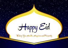 Elegant Happy Eid Ramadhan Blue and Gold Greeting Card with Mosque Shilloutte, Stars, Ornament, and Wishes. Ramadhan and Happy Eid Mubarak Elegant and Beautiful stock illustration