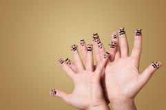 Elegant fingers smiling together stock image