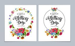 Elegant Happy Mother`s Day cards on light blue background. Hand drawn lettering Happy Mother`s Day in flower frame. Elegant Happy Mother`s Day cards on light Royalty Free Stock Image