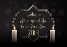 Elegant Happy New Year background with candles. And decorative frame Royalty Free Stock Images