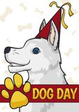 Happy White Dog with Party Hat Celebrating its Day, Vector Illustration Royalty Free Stock Photos