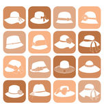 Elegant Hats Icon Set Stock Photo