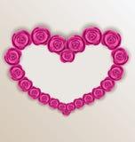 Elegant heart made in roses for Valentine Day, copy space for yo. Illustration elegant heart made in roses for Valentine Day, copy space for your text - vector Stock Photo