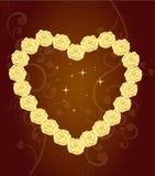 Elegant Heart Of Golden Roses Royalty Free Stock Images