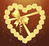 Elegant Heart of roses and ribbon Stock Images
