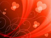 Elegant Hearts Background Shows Delicate Romantic Wallpaper Stock Images