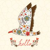 Elegant hello card with flying seagull Royalty Free Stock Image