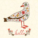 Elegant hello card with flying seagull Royalty Free Stock Photos