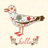 Elegant hello card with flying seagull Stock Photo