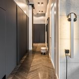 Elegant hem- korridor med garderoben royaltyfria foton