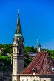 Elegant high church tower in Salzburg Royalty Free Stock Photography
