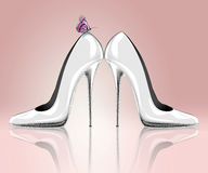 Elegant high heel shoes with butterfly Royalty Free Stock Photos