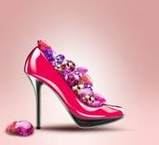 Elegant High Heel Shoes With Diamonds Royalty Free Stock Image