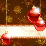 Elegant holiday banner with transparent ornaments. Red and gold Christmas banner with transparent glass ornaments. Graphics are grouped and in several layers for Stock Image