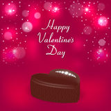 Elegant holiday card with a chocolate candy in the form of hearts, diamonds and the words Valentine`s Day. Suitable for invitation Royalty Free Stock Photo