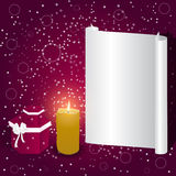 Elegant holiday card with a light gray banner, boxes and burning candle. Vector Royalty Free Stock Images
