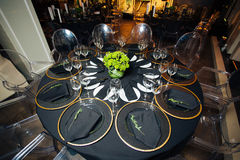 Elegant holiday table, catering, creative approach to the event Stock Photos