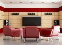 Elegant home cinema room. Home cinema with wooden panels and three armchair-rendering Royalty Free Stock Photos