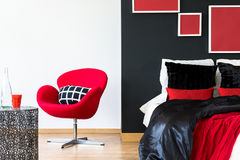 Elegant home interior. Design  with black and red accessories Stock Photo