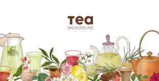 Elegant horisontalbakgrund eller bakgrund med exponeringsglastekannor, koppar, läckert aromatiskt te, blommor, bär, sidor stock illustrationer