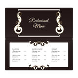 Elegant horizontal restaurant menu template. It is executed in the Victorian style with a leaf ornament. Brown with white color. Royalty Free Stock Image