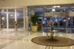 Elegant hotel lobby front stock images