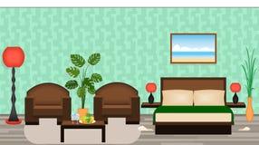 Elegant hotellruminre med möblemang, lampor, houseplants, vektor illustrationer