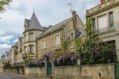 Elegant Houses along the riverside. Chinon. France. Elegant Houses along the riverside on Quai Jeanne d' Arc street Chinon. France Stock Photo