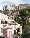 Elegant houses under Athens Acropolis Stock Images