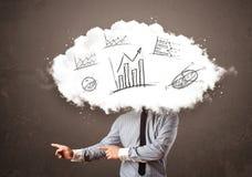 Elegant huvud för moln för affärsman med hand drog grafer Fotografering för Bildbyråer