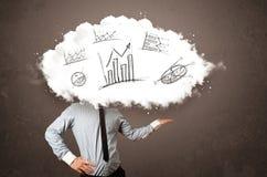Elegant huvud för moln för affärsman med hand drog grafer Arkivfoton