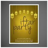 Elegant iftar party Invitation Card design decorated on yellow c. Ard , on dark grey background. - For web design and application interface, also useful for Royalty Free Stock Image