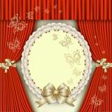 Elegant inbjudan med den guld- pilbågen Royaltyfria Bilder
