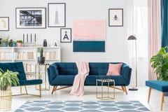 Elegant inre för rosa färger och för blått royaltyfri foto