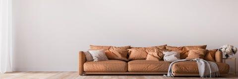 Free Elegant Interior Design, Modern Living Room Mockup On White Empty Background, Panorama Royalty Free Stock Image - 210404566