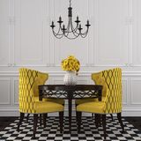 The elegant interior  of dining room with yellow  chairs Royalty Free Stock Photo
