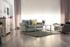 Elegant interior of living room  with comfortable sofa and armchair royalty free stock images