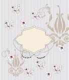 Elegant invitation card. With baroque patterns and cherry blossom Royalty Free Stock Photos