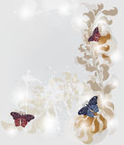 Elegant invitation card. Grunge invitation card with baroque butterflies Royalty Free Stock Photos