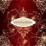 Elegant invitation card with crown and ornament Royalty Free Stock Photos
