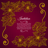 Elegant invitation card with floral lace quilling Stock Images