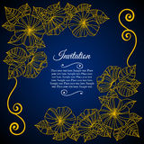 Elegant invitation card with floral lace quilling Stock Photography