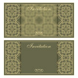 Elegant invitation card with flower pattern Royalty Free Stock Images