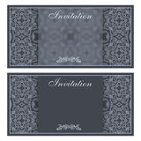 Elegant invitation card with flower pattern Stock Photography