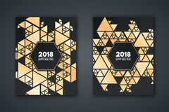 Elegant invitation card for the new year. Pattern mosaic made of golden triangles on a black background. Banner with text. Geometr. Ic New Year`s style. Vector Stock Photo