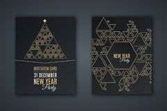 Elegant invitation card for New Year`s party. Pattern mosaic made of golden triangles on a black background. Christmas tree made vector illustration