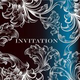 Elegant invitation card with ornament in deep blue Stock Images