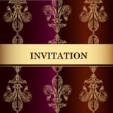 Elegant invitation card in royal style Stock Photos