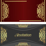Elegant invitation Cards with golden royal Elements. Stock Photos