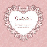 Elegant invitation with lace. Elegant invitation or greeting card template with lace heart shaped frame. Vector Illustration Royalty Free Stock Photography